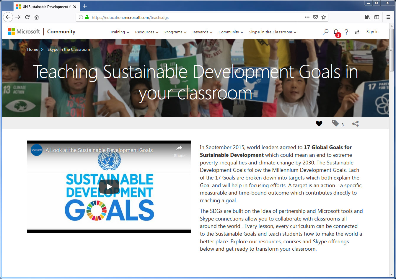 Microsoft - Teaching Sustainable Development Goals in your classroom